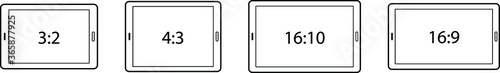 Foto Diagrams comparing differences between different screen aspect ratios