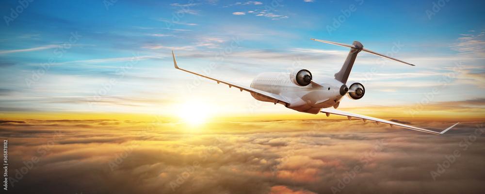 Fototapeta Private jetplane airplane flying above clouds