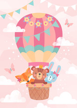 Kids Greeting Card Or Poster Design With Cute Little Cartoon Animals Riding In The Basket Of A Hot Air Balloon Over A Pink Sky With Clouds, Colored Vector Illustration