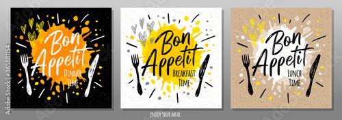 Bon Appetit, enjoy your meal, quote, phrase, food poster, splash, fork, knife. Lettering, sketch doodle style, sign. For menu, cafe restaurant lunch time breakfast dinner Vector illustration