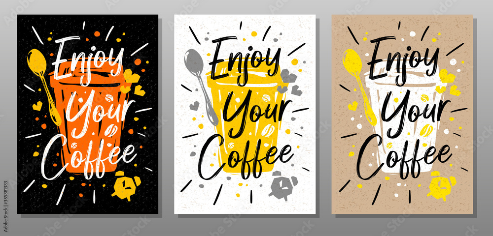 Fototapeta Enjoy Your Coffee quote food poster. Mug, cup, cooking, culinary, kitchen, print, utensils. Lettering, calligraphy poster chalk chalkboard sketch style Vector illustration