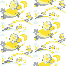 Seamless Cute Pattern For Kids With Yellow Sheep Jumping Over Fence In The Sky With Moon