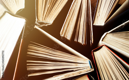Fotografering Old and used hardback books or text books seen from above