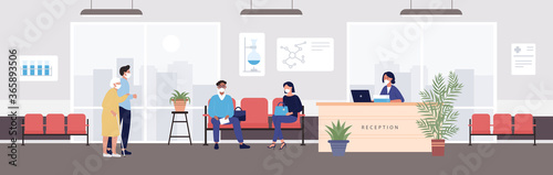 Obraz Old people visit hospital reception vector illustration. Cartoon flat elderly woman character in protective mask visiting hospital, patient people waiting exam in receptionist hall interior background - fototapety do salonu