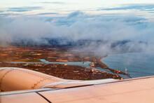 Airplane Is Flying Over North Sea And Northumberland On The British Coast, United Kingdom