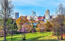 A Colorful City Skyline/ Cityscape Of Downtown Raleigh, North Carolina In High Definition.