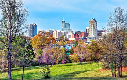 Slika na platnu A colorful city skyline/ cityscape of downtown Raleigh, North Carolina in high definition