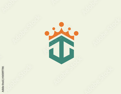 Fotografering Creative bright logo icon anchor and crown