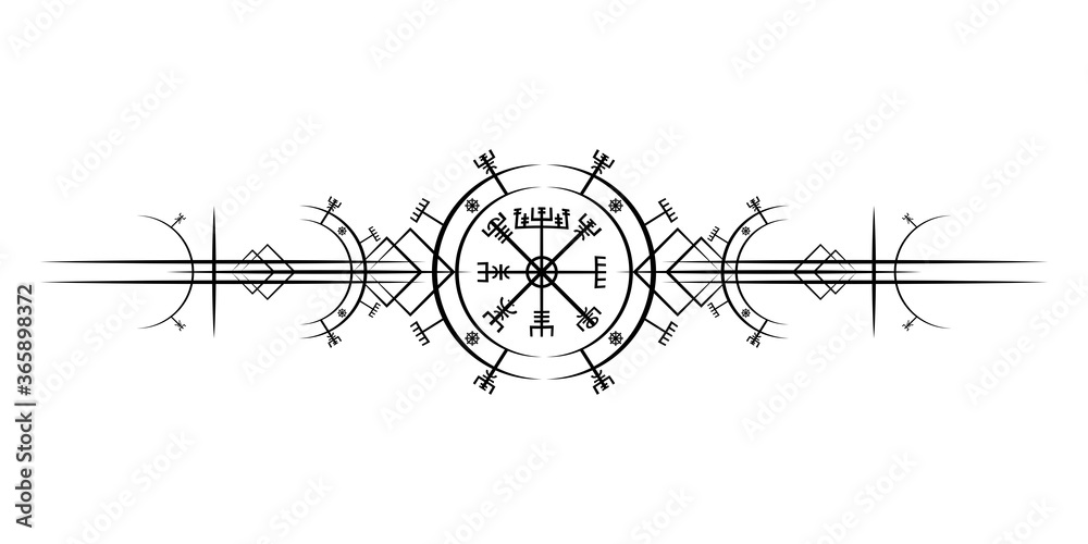 Fototapeta Magic ancient viking art deco, Vegvisir magic navigation compass ancient. The Vikings used many symbols in accordance to Norse mythology,  widely used in Viking society. Logo icon Wiccan esoteric sign
