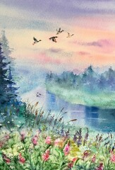 Obraz na płótnie Canvas Watercolor flying ducks over the lake. Colorful nature background. Summer sunset landscape. Design element.