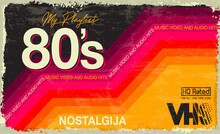 My Playlist. 80's Awesome Super Video And Audio Hits. VHS Effect. 80's And 90's Style.  Retro Vintage Cover. Eighties Color Letters. Old Style Tape, Banner Or Poster. Easy Editable Design Template.
