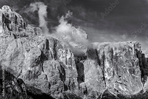 Fototapety, obrazy: The Sella Group in black and white, Alta Badia, Dolomites, South Tirol, Italy