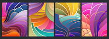 Stained Glass Style Background, Colorful Mosaic Patterns, Wavy Shapes, Gradients And Bright Colors