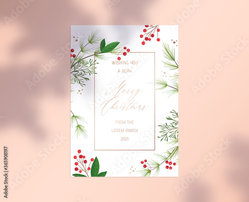 Fotomural Merry Christmas Card with Gold Typography, Botanical Floral Design of Holly Berr