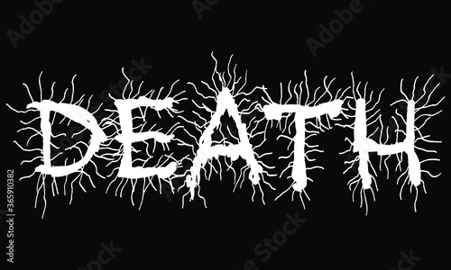 Fotografering Vector lettering of word DEATH.Metal music style.Grunge font.
