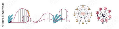 Foto Various attractions of amusement park set vector flat illustration