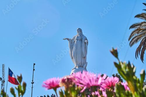 Virgen del Carmen en la cima del Cerro San Cristóbal Canvas Print