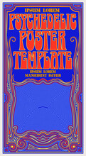 A Template For A Tall Poster Or Flyer In The Style Of 1960s Psychedelic Hippie Graphics