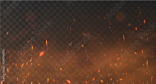 Fotografiet Realistic fire sparks background on a transparent background