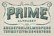A Vintage Styled Alphabet In Sage Green Tones; This Font Has An Old Time Quality That Would Work Well On Certificates, Book Covers, Alcohol Bottles, Craft Beer Branding, Etc.