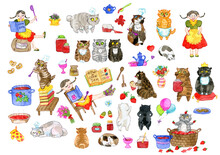 Set Of Adorable Characters, Pretty Girl, Playful Bobtail Cats The Cooks, Kitchen Objects. Cute Cartoon Illustrations, Watercolor Hand Drawn Collection For Funny Scene Creator With Clip Art Elements