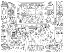Cute Hand Drawn Vector Illustration With Old Kitchen, Pretty Sleeping Girl And Adorable Funny Bobtail Cats Helping Cook Jam, Graphic Vintage Background, Line Art Drawing For Coloring Book.