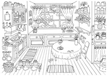 Cute Hand Drawn Vector Illustration Of Vintage Country Style Kitchen With Nobody, Funny Scene Creator, Graphic Vintage Background, Line Art Drawing For Coloring Book, Outline Sketch
