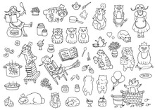 Vector Set Of Adorable Characters And Mascots, Pretty Girl And Bobtail Cats The Cooks, Kitchen Objects. Cute Illustrations, Black And White Collection For Funny Scene Creator With Clip Art Elements