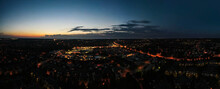 Aerial Night Panorama Over Sub...
