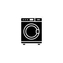 Washing Machine Black Glyph Icon. Simple And Flat. Solid And Bold. Can Use For Web, Apps, Or Logo. Vector Illustration. Home Electronic Icon.