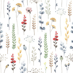 Panel Szklany Ogrody Watercolor floral seamless pattern with colorful wildflowers, leaves and plants. Illustration on white background in vintage style.