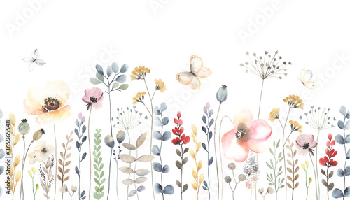 Watercolor floral seamless pattern with colorful wildflowers, leaves, plants and flying butterflies. Panoramic horizontal isolated illustration. Garden background in vintage style.