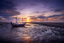 Thai Fishing Boat Low Tide At ...
