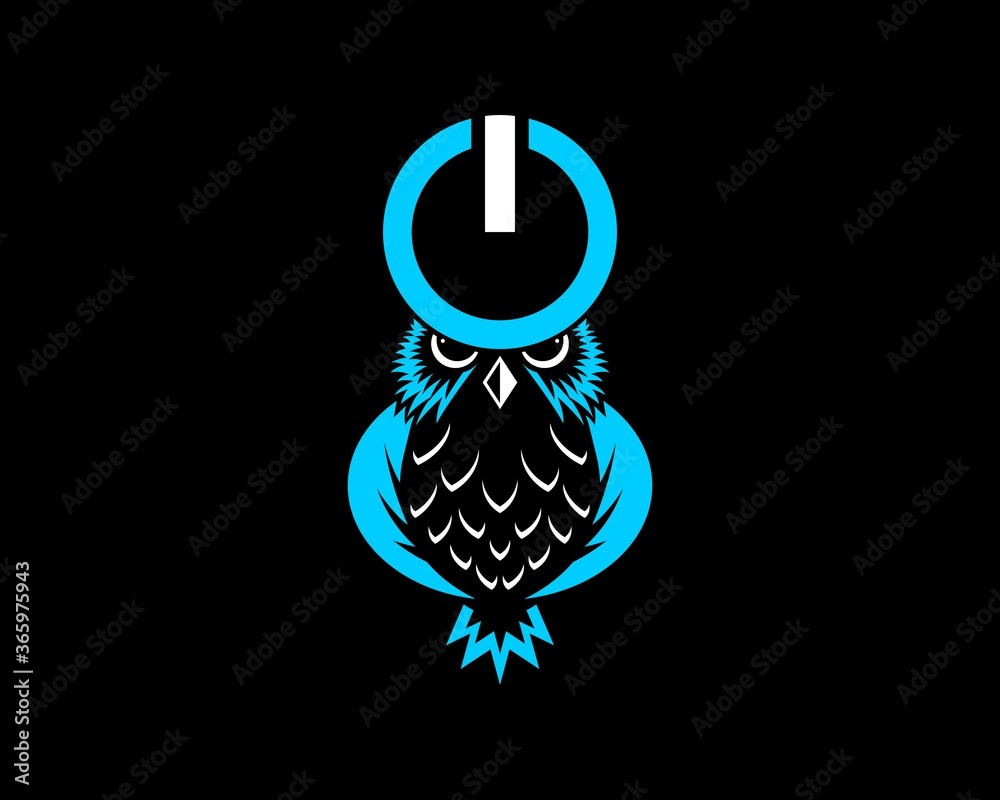 Fototapeta Owl and power button with blue tech