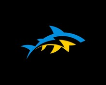 Blue And Yellow Shark With Lightning Inside