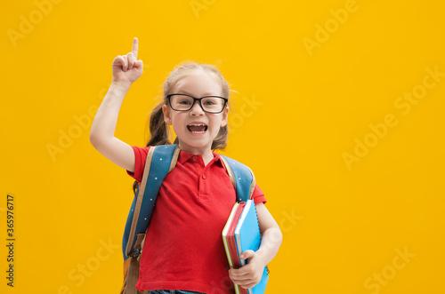 Obraz na plátně Kid with backpack on color background.