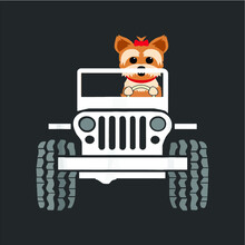 Cute Funny Yorkie Jeep Dog Mom...
