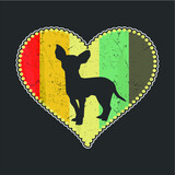 Vintage Chihuahua Dog Love Heart design vector new