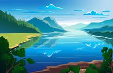 Sunny Day, Summertime, Beautiful Natural Landscape Vector Illustration