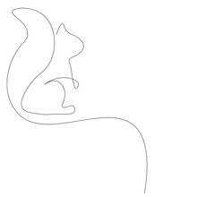 Squirrel Animal Silhouette Line Drawing Vector Illustration