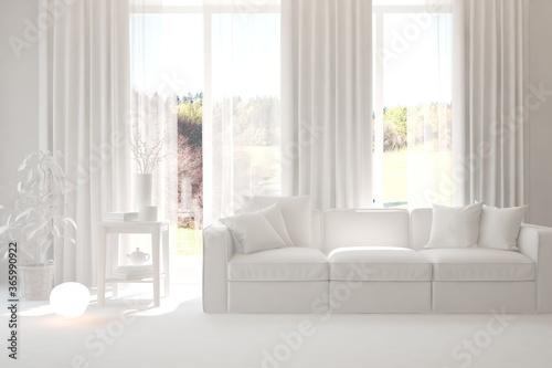 Fototapeta White minimalist living room with sofa. Scandinavian interior design. 3D illustration obraz