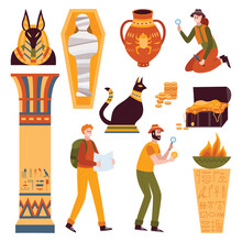 Vector Set Of Egyptian Symbols...