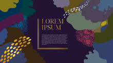 Abstract Art Pattern Inspired By Colorful Coral Reef On Dark Background