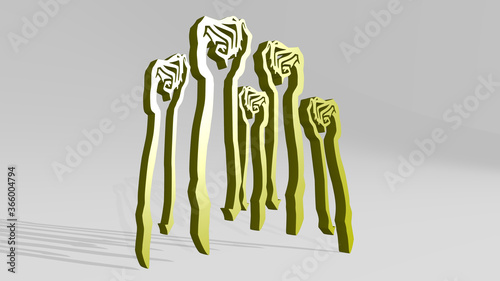 Photo protesting fists made by 3D illustration of a shiny metallic sculpture with the shadow on light background