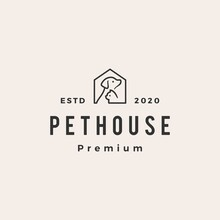 Pet House Dog Cat Hipster Vintage Logo Vector Icon Illustration
