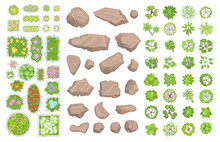 Set Of Park Elements. (Top View) Collection For Landscape Design, Plan, Maps. (View From Above) Stones, Plants, Bushes, Trees, Flower Beds.