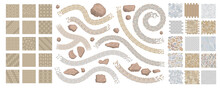 Set Of Vector Street Pavements And Stones. (Top View) Collection For Landscape Design, Plan, Maps. (View From Above)