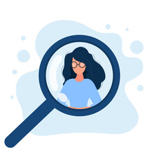 Woman Under A Magnifying Glass. People Search, Job Openings And HR Concept. Vector.