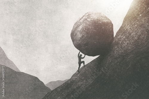 Photo illustration of strong man pushing big rock uphill, surreal concept