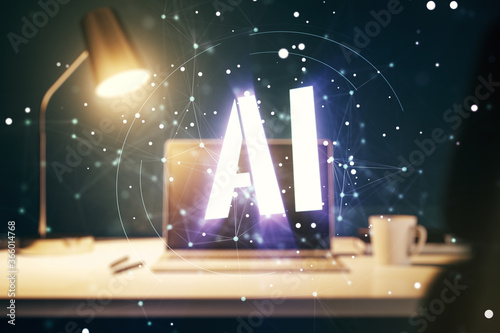 Photo Creative artificial Intelligence symbol concept with modern laptop on background